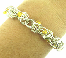 """Sterling Silver Byzantine Chain Bracelet Glass Beads Hand Crafted 10mm 7.75"""""""