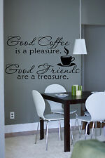 BIG Coffee Time Friend Quote Wall Stickers Art Kitchen Removable Decals DIY
