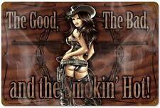 Lethal Threat PinUp Girl Cowgirl Metal Sign Man Cave Garage Shop Club LETH002