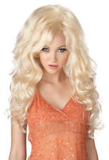 Deluxe Blonde Bombshell Glamour Long Curly Wig Ladies Fancy Dress Costume Access