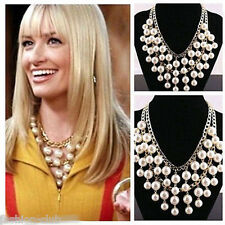 Trendy Multilayer Inspired Cream Big Pearl Beads Golden Chain Pendant Necklace