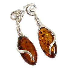 ATTRACTIVE GENUINE BALTIC AMBER 925 STERLING SILVER STUD EARRINGS