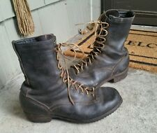 Vintage 1950s Horsehide Caulk Spiked Leather Logging Work Packer Boots USA 10 D