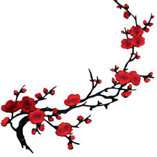 Red Plum Blossom Flower Iron on Sew Embroidered Patch Badge Applique Motif Flora