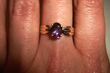 10k Yellow Gold Oval cut Amethyst Solitaire ring size 7 Vintage signed