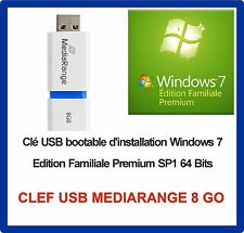 Clé USB bootable Windows 7 Familial Prémium SP1 64 bits + DVD ( sans licence )
