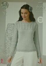 KNITTING PATTERN Ladies Easy Knit Long Sleeve Cable Yoke Jumper Chunky KC 4405