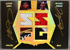 07-08 UD Black Lebron James Michael Jordan DUAL NBA JERSEY LOGO PATCH AUTO #1/5