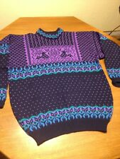 VINTAGE Mens DALE of NORWAY Crew WOOL SWEATER Blue Nordic Ski Sz XL