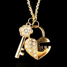 Fashion gold-plated fine key and lock crystal pendant Long necklace CC36