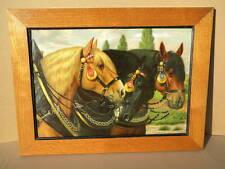 ca.1910 PFERDEBILD 3 Pferde PFERDEGESCHIRR Kumet schöner Druck Eichenrahmen Bild