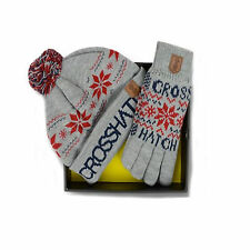 MENS CROSSHATCH HAT & GLOVES GIFT SET STYLE SNOWSTAR - GREY MARL