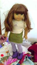 """American Girl 2008 doll toy red bro hair green eyes fully clothed boots 18"""" GUC"""