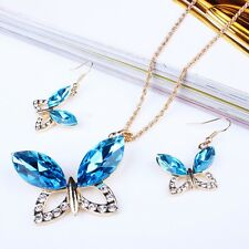 Blue Faceted Crystal Butterfly Pendant Long Necklace Earrings Set collier