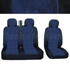 OPEL VAUXHALL VIVARO Bus Box Seat Covers 2+1 Headrest Black / Blue DE LUX FABRIC