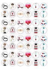 48 Medical Doctor Nurse Wafer / Rice Mini Cupcake Topper Edible Fairy Cake Tops