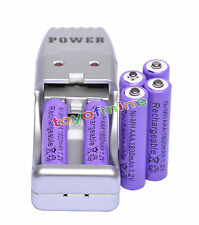 6 X AAA 3A batterie NiMH rechargeable 1800mah 1.2V Violet + Chargeur USB