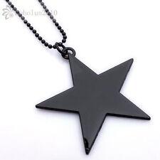 Huge Black Star Cool Mens Pendant Necklace 56*56mm