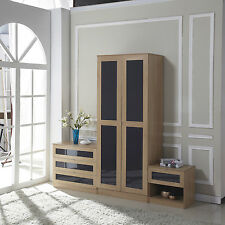 High Gloss 3 Piece Bedroom Furniture Set Wardrobe + Chest + Bedside Gray