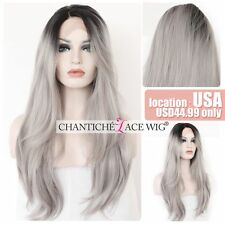 Ombre Lace Front Wig Dark Roots&Gray Synthetic Hair Long Straight Heat Resistant