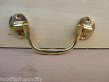 "3 1/2"" SOLID POLISHED BRASS MILITARY STYLE CABINET CHEST HANDLE BOX SCREW K23502"