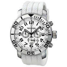 TW Steel Grandeur Diver Chronograph White Dial White Rubber Mens Watch TW95