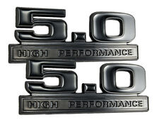 Two Tone Glossy & Matte Black 5.0 High Performance Emblems Logo Badge - Pair