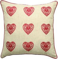 Red Square Scatter Cushion Cover 43x43cm Vintage Hearts Linen Blend New