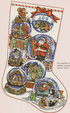 """Snow Dome Collection"" Stocking Counted Cross Stitch Pattern Santa Nativity"