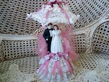 FABULOUS MAUVE ACCENTED LACE UMBRELLA WEDDING CAKE TOPPER WITH BRIDE & GROOM