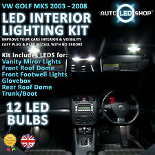 VW GOLF MK5 2003 - 2009 WHITE LED INTERIOR LIGHT SET KIT BULBS XENON SMD