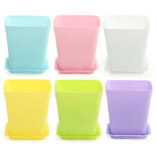 6pcs Candy Color Flower Pot Square Plastic Planter Nursery Garden Home Decor