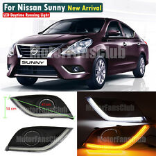 LED Daytime Running Light For Nissan Sunny Versa Fog DRL 2014 2015 Turn Signal