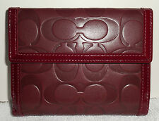 Rare Coach Bordeaux Jumbo Signature Embossed Leather Lrg French Purse Wallet