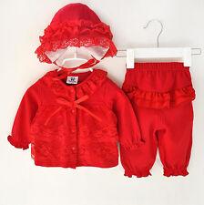 100% cotton Newborn infant baby Girl infant Clothes hat+tops+pants party 0-3M