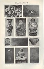Lithografie 1907: Chinesische Kultur I/II. Tracht Schmuck Palankin Fächer Stoff