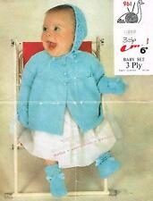 Knitting Pattern Babies Lacy Matinee Coat Bonnet Mittens & Bootees Set Emu 961