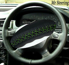 FITS KIA CERATO 100% REAL BEST BLACK LEATHER STEERING WHEEL COVER GREEN STITCH