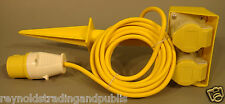 110V Yellow Extension Lead With Plug And 2 Sockets 5M Site Lights/Tools 110 Volt