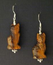 Kitty Cat Earrings made out of Tiger Iron Kitty Cat Earrings