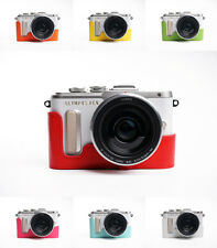 Genuine Real Leather Half Camera Case Bag Cover for Olympus E-PL8 EPL8 7 Colors