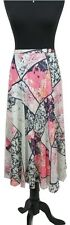 PER UNA Skirt Size 12 Pink Cream Floral L33IN Flowy Xmas Party