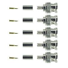BNC Male Plug 50 Ohm Solderless Crimp Type Plug - Pack of 5