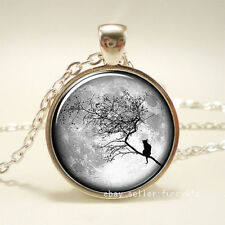 Cat sitting in a tree Cabochon Silver plated Glass Chain Pendant Necklace /54