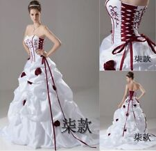 2016 New White+Red Wedding Dress Bridal Gown Ball Size 6 8 10 12 14 16+ Custom