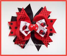 "Cute Ladybug Girls/ Toddler Boutique Hair Bow. 5"" wide"
