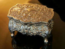 Beautiful Vintage 50's Japan Ornate Repousse Footed Trinket Jewelry Box  211n6