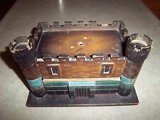 Vintage Wooden Brown Teal Castle Jewelry Box w/Round Castle Battlements Drawer