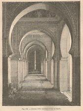 A2432 Interno moschea di Sidi bu Medin - Xilografia Antica del 1895 - Engraving