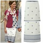 NEW WHITE STUFF NATIVE ISLAND SKIRT CREAM NAVY EMBROIDERED FLORAL SUMMER 8 - 18